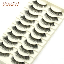 YOKPN Imported High Temperature Silk Natural False Eyelashes Cross Transparent Thick Long Eye Lashes Dating Makeup Fake Eyelashe