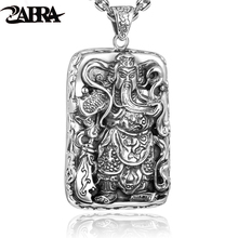 ZABRA 925 Sterling Silver Pendants For Men Guan Yu Hero Good Pray Necklace Guys Buddha Pendant Vintage Chinese Culture Jewelry(China)