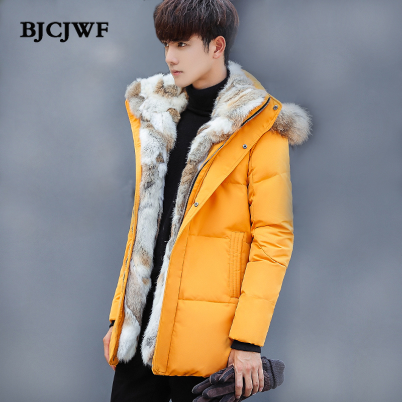 Winter jacket men 2018 long Down Coat Luxury raccoon fur collar Removable Hooded plus velvet thickening Outwear Plus size 4X 5X