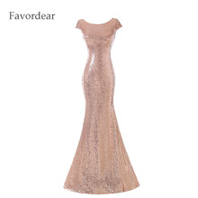 Favordear Prom Gowns Vestido De Festa Curto Sexy Off Shoulder Mermaid Rose Gold Sequin Floor-length Long Bridesmaid Dress(China)
