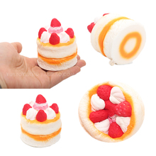 Original Strawberry Cake Squishy Ice Cream Pancake Slow Rising Cute Phone Straps Pendant Scented Bread Fun Kid Toy Gift Doll