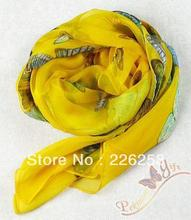 Free Shipping Yellow Chinese Women's Silk Shawl Scarf Scarves with Butterfly WS-223