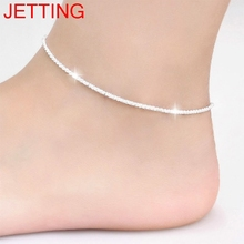 JETTING Trendy Silver Plated Hemp Rope Chain Bracelet Anklet Women Fashion Jewelry 21CM Silver Foot Jewelry For Women(China)
