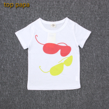 Top Papa Cool Summer Unisex Cheap Discount Children Top Clothes Sunglass White Tshirt for Kid Outdoor Sport Clothing