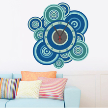 Funny Blue Circle Removable DIY Home Decor Wall Sticker Simulaiton Clock Wall Paper For Living Room BedRoom Etc