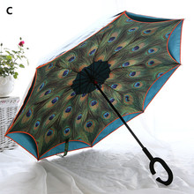 Creative inverted handle peacock umbrella Anti wind fiber bone double layer cloth sunshade ultraviolet proof  C-Hook Hands Car