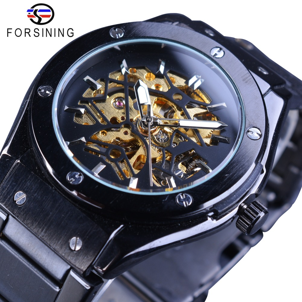 Forsining 2017 Fashion High Quality Stainless Steel Design Golden Gear Movement Skeleton Men Automatic Watches Top Brand Luxury <br>