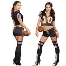 2016 New Sexy Football Costumes for Women Crop Top with Boxer Shorts Soccer Costume Uniform Sport Suits Team Costume for women