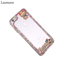 Laumans Cell Phones Cases for iphone 7 plus bling rhinestone crystal diamond bear transparent case for i6 6s 6plus 6splus 8 plus(China)