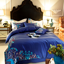 European and American Pastoral Style 100%Cotton Duvet Cover Bed Sheet Set Blue/Pink/White/Brown Princess Room Bedding Set(China)