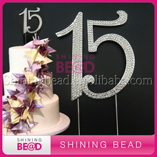 free shipping,Sliver number 15 birthday rhinestone cake topper, hot sale number cake topper for birthday party,10Pieces/lot