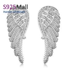 angel wing paved crystal for lady earring Wholesale Nickle Free Antiallergic 2016 angel Earrings For Women New Fashion Jewelry