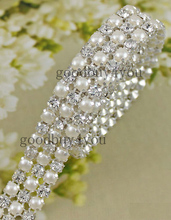 1 Yard Diamond 3Rows 5mm A Grade Rhinestone Crystal & Pearl Wedding Cake Banding Trim Cake Ribbon Decoration
