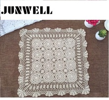 60/ 70/ 80 /90CM SQ Shabby Chic 4 Sizes Vintage Crocheted Tablecloth Handmade Crochet Coasters Cotton Lace Cup Mat Placemat(China)