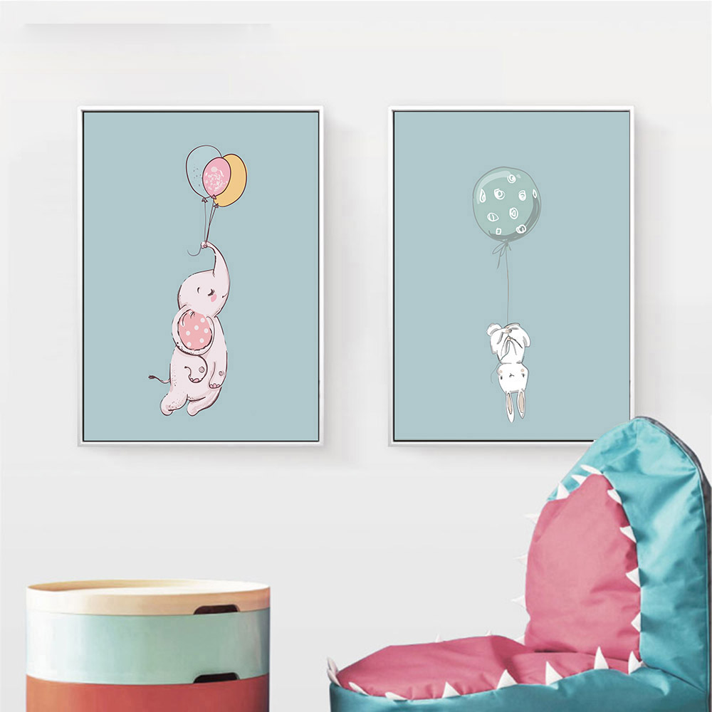 Kawaii-Animal-Rabbit-Elephant-Balloon-Wall-Art-Canvas-Posters-Prints-Nursery-Painting-Decorative-Picture-Kids-Room