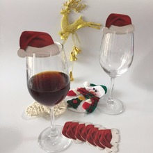 50pcs/lot Table Place Cards Christmas Santa paperboard stand Hat Wine Cocktail Glass Dinner Table Party Decoration(China)