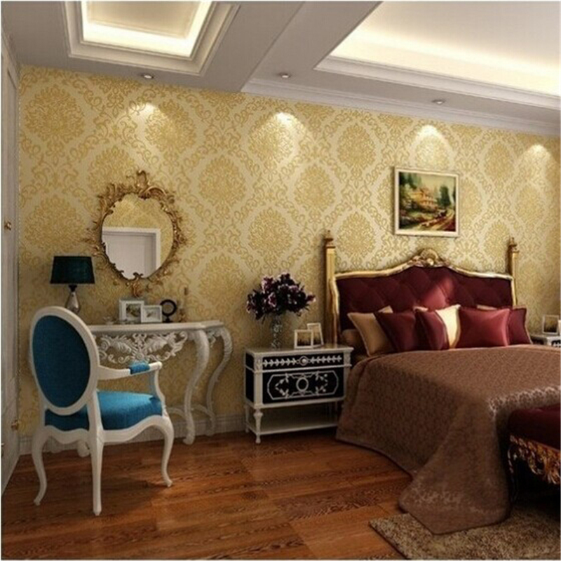 beibehang of wall paper Classic European Damask Pattern Non-Woven Wallpaper Glitter Wallpaper Roll papel de parede mural<br>