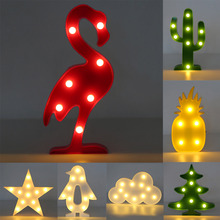 Creative 3D LED Plastic Nightlights Romantic Night Lamp Table Lamp LED Nightlight Home Christmas Decoration Kids Room Bedroom