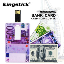 Kingstick New style usb flash drive Credit Card Pendrive Currency 64GB 32GB 8GB 16GB Pen Drive U disk Memory Stick Card Disk(China)