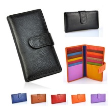 Women Genuine Real Leather Bifold Wallet Credit Business Name Card Holder Slip Change Purse Case Fashion Bag Casual Cute Gift