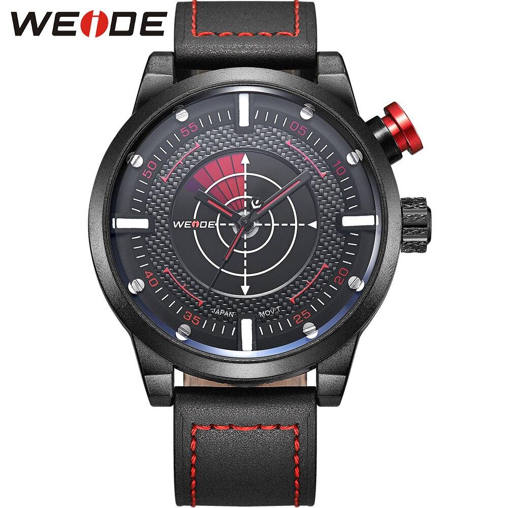 WEIDE New Analog Quartz Sports Wrist Watches Soft Genuine Leather Straps Unique Flashing Design Waterproof For 30M Underwater<br>