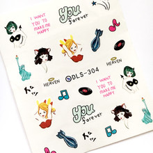Newest Fashion DLS-304 cartoon girl water seal water transfer nail art sticker supplier accessories water decal
