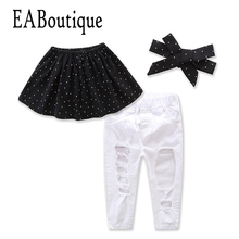 EABoutique fashion girls clothes polka dot black tube top with big hole white jeans bowtie headband girls clothing sets(China)