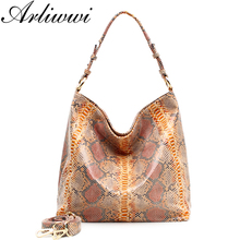 Arliwwi Brand 4 Colors Good Quality Big Fashion Snake Embossed Women PU Leather Bags New Cross Body Handbag 31546