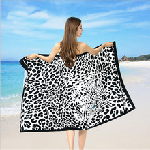 2016 Summer Beach Towels Brand Rectangle Unisex Beach Towel Black Leopard Printed Swimming Bath Towel 180*100cm 667763