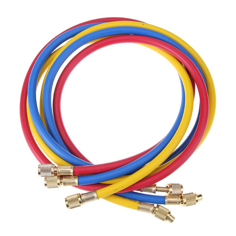 3pcs 1.5m Refrigeration Charging Hoses 1/4 SAE Female Manifold Gauge Set For r R134a R410a R22 R12 R502 Air Conditioner tools<br>