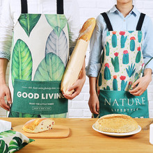 Green Cactus Cotton Linen Long Apron Home Kitchen Cook Baking Painting Gardening Work Wear Cafe Bar Catering Barista Uniform D4(China)