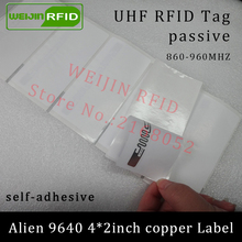 860-960MHZ UHF RFID tag sticker Alien 9640 printable copper label 915mhz Higgs3 EPCC1G2 6Csmart adhesive passive RFID tags label