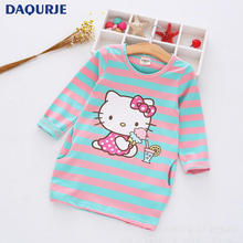 New 2017 Summer Autumn Girl Dress Stripe Cartoon Cute Children Dresses Side 2 pockets Cotton Vestidos Girls Clothes Kids Costume