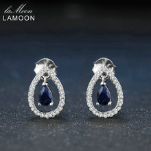 Lamoon 3X5mm Teardrop 100% Real Blue Sapphire 925 sterling-silver-jewelry Crown Stud Earring S925 LMEI054(China)