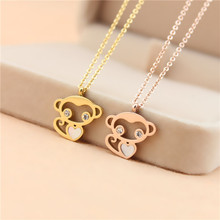 YUN RUO Cute Monkey Pendant Necklace 316L Titanium Steel Gold Silver Color Fashion Woman Jewelry Gift Never Fade Free Shipping(China)