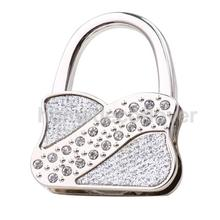 Women Lady Rhinestone Lock Folding Bag Handbag Purse Table Hook Hanger Umbrella Hanging Holder(China)