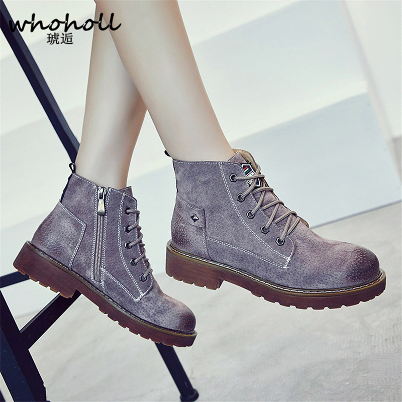 WHOHOLL 2017 Winter Martin Boots Female PU Leather Ankle Boots Female Vintage British Boots Grey Green Kahaki Solid Women Boots<br>