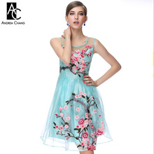 2016 early spring summer designer women's dresses blue beige black 3d flower embroidery fashion vintage brand event dress gown