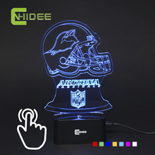 CNHIDEE 7 Colors Changing Led Lamp Cardinals Rugby Team 3D Night Light for Football Fans as Home Decor Bedroom USB Table Lampara