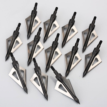New 12pcs Stainless Steel 3 Blade Broadheads Target Shooting Hunting Arrow Head Outdoor Arrowhead Crossbow Tips(China)