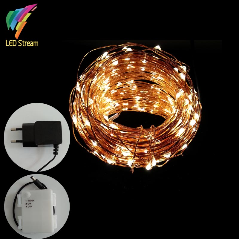 30M  99FT 300 LED Waterproof Warm White led String Fairy Starry Light Copper Wire 3AA Timer Battery and Plug Adapter Powered<br>