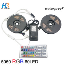 8M SMD 5050 RGB LED Strip light waterproof rgb led Set 60LED/M Flexible Tape +44Keys IR Controller remote +12V 5A Power Adapter