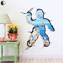 Island Landscape 3D Home Decor Wall Stickers DO IT YOURSELF House Super Decoration Wall Decals Vinyls on the fridge HH1262(China)