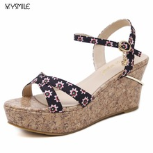 Free shipping small size34 women wedges sandals shoes 2017 fashion summer shoes imported china black sandals