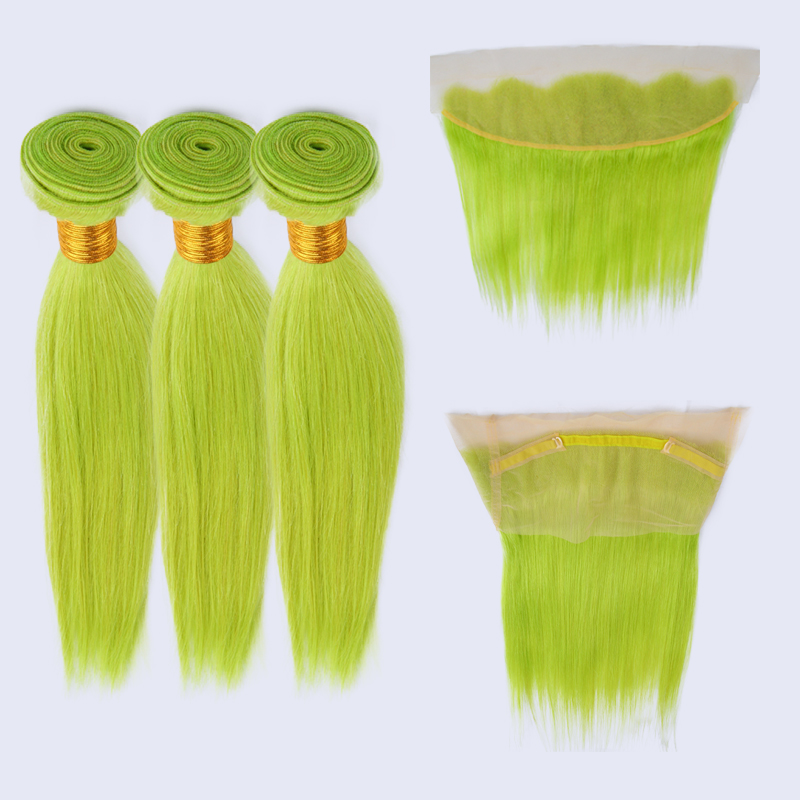 9-lace frontal human hair bundles with frontal