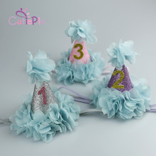 Mini Birthday Party Princess Hat Headband with Teal Blue Flower Trim for Kids Kids  Birthday Party Favors Headwear