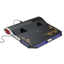 USB Laptop Cooling Pad Gaming Cooler Base with Audio Sound System Dual Turbine Fans Airflow Speed up to 4000 RPM for 17""