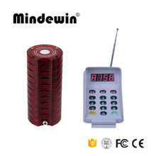 Mindewin Easily Used Fast Food Restaurant Queue Management System With 10PCS Mini Waterproof Pagers Guest Queuing Number System