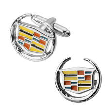 A pair of high quality brass material circle Cadillac form cufflinks fashion men's shirts cufflinks sculpture(China)