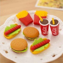 1Pc Cute Kawaii Cake Hamburger Food Drink Cola Rubber Eraser Set Stationery School Office Erase Supplies Fruit Kids Gifts